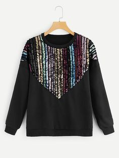 To find out about the Drop Shoulder Contrast Sequin Sweatshirt at SHEIN, part of our latest Sweatshirts ready to shop online today! Look Fashion, Hijab Fashion, Fashion News, Kids Fashion, Autumn Fashion, Fashion Outfits, Womens Fashion, Cool Hoodies, Diy Clothes