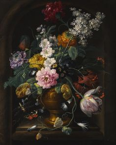 Johann Baptist Drechsler VIENNA 1756 - 1811 STILL LIFE OF FLOWERS IN AN URN IN A STONE NICHE signed and dated lower right: Joh. Drechsler .f. / 1793 oil on copper 51.7 x 41.3 cm.; 20 3/8  x 16 1/4  in.