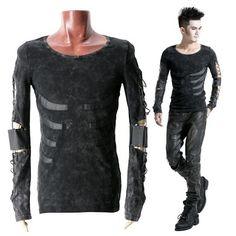 Mens Black Long Sleeve Skeleton Gothic Punk Emo Scene Tops Clothing SKU-11409088