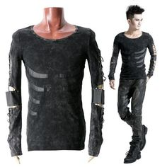 Mens Black Long Sleeve Skeleton Gothic Punk Emo Scene Tops Clothing SKU-11409088