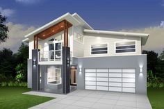 Slide Dual Occupancy Duplex Designs At . Double Storey House Plans, Double Story House, Two Storey House, House With Balcony, House Roof, Facade House, House Facades, House Exteriors, Glass House Design
