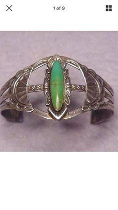 RARE Fred Harvey era vintage Navajo turquoise sterling silver bracelet 92.5