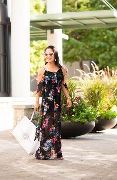 cute & little blog | petite fashion | black floral off-shoulder maxi dress, white tote | summer outfit