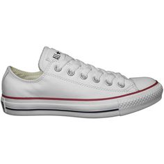 Converse All Stars Chuck Taylor Ox Leather White ($55) ❤ liked on Polyvore featuring shoes, sneakers, converse, zapatos, white low top shoes, converse shoes, low top, white low top sneakers and star shoes