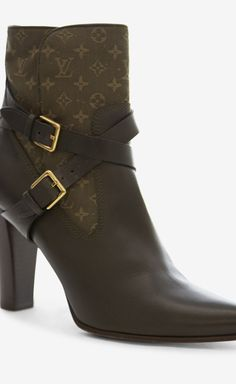 9dfe404159e3 Louis Vuitton Black And Olive Booties