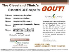 50 hospitals are now using essential oils and the Cleveland Clinic is one of them. Apparently this is one of their recipes for GOUT!