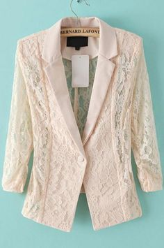 Apricot / Ivory Lace Blazer with 3/4 Sleeves and Lapel