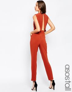 Image 1 ofASOS TALL Jumpsuit With Open Back And Pleat Detail