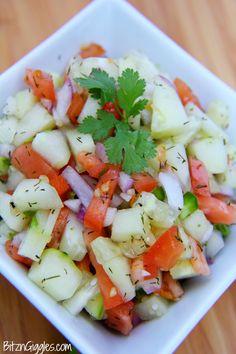 Fresh Cucumber Salsa. Use white onion instead of red, no parsley or garlic. Add white vinegar.