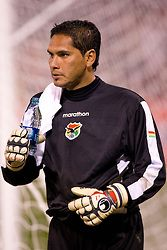 February 24, 2010; San Francisco, CA, USA;  Bolivia goalkeeper Daniel Vaca (1) leaves the game during the second half against Mexico at Candlestick Park. Mexico defeated Bolivia 5-0.