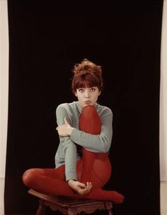 Anna Karina in red tights