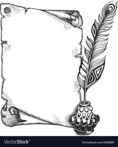 Paper scroll feather and inkwell Royalty Free Vector Image Pencil Drawings Tumblr, Art Drawings Sketches, Cute Drawings, Free Hand Designs Drawing, Designs To Draw, Page Borders Design, Border Design, Borders And Frames, Borders For Paper