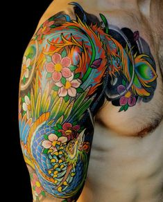 Illusion: Born in Argentina and currently working in Miami, tattooer Federico Ferroni uses bright colors to ink Asian-inspired designs. He is known for combining traditional with modern styles, and is precise about making his art flow naturally on his clients' bodies.http://illusion.scene360.com/art/39806/colorful-sleeve-tats/