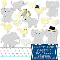 Yellow Gender Neutral Baby Elephant Clipart by CandyBoxDigital. Great clip art for digital scrapbooks and journals, blogs and websites, graphic designs, invitations, and all kinds of paper craft applications. At our Etsy shop.