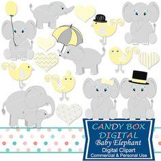 Amarillo bebé elefante Clipart género neutro por CandyBoxDigital