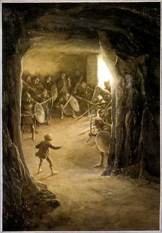 Alan Lee - Illustrations for the 1997 reissue of J.R.R. Tolkien's The Hobbit: 5. Riddles In The Dark (IT: Indovinelli nell'oscurità) _V