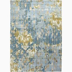 Hand-Made Abstract Pattern Blue/ Green Wool/ Rayon from Bamboo Silk Rug (8x10) | Overstock.com Shopping - The Best Deals on 7x9 - 10x14 Rugs
