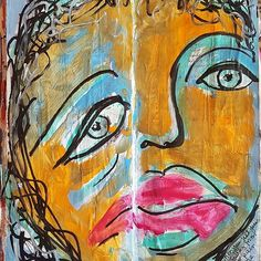 """Face #48 of 50 faces challenge """"When you few.ypur face is falling from sadness or pain but no one notices""""    Ink and acrylics and #molotow pens on gessoed and collaged pages of the same maths workbook I'm currently recycling as art journal.    #iamwhatiart #fadwaalqasem #sketching #SBS #life #love #recycled #artjournaling #artdubai #art #gallary #arttherapy #loveart #love #livesindubai #pages #iamwhatiart   www.fadwa.com"""
