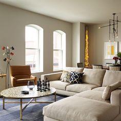 FramptonCo Tribeca loft: tile top table, Workstead, Ralph Pucci, Jens Risom, Minotti. Joshua McHugh Photography