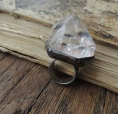 Quartz Ring, Statement Ring, Stone Ring, Crystal Ring, single crystal ring, raw, transparent, big, magical ring. 47.00, via Etsy. May be too clear and nothing, like glass.