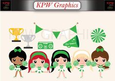 Green and White Cheerleader Clipart Set in a PNG format. Personal & Small Commercial use Cheerleader Clipart, Clipart Images, Cartoon Drawings, Cheerleading, Clip Art, Invitations, Dolls, 6 Inches, Holiday Decor