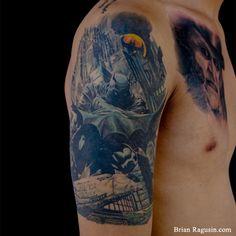 Batman Quarter Sleeve Tattoo by Brian Ragusin