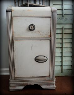 1930's or 40's antique bedside table. Painted with Amy Howard chalk paint, distressed and waxed