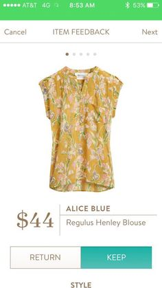 #stitchfix @stitchfix stitch fix https://www.stitchfix.com/referral/3590654 Stitch Fix-Alice Blue Regulus Henley Blouse I love yellow and this print!!!! Gorgeous!!!!