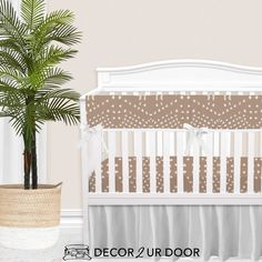 """Your dream boho, textured, and patterned-perfect nursery has arrived. We love this """"tile"""" inspired print in this nursery. Add fun plants (like snake plants, fiddle leaf fig, or (fake) cacti) for pops of green. This may be one of our favorite boho + modern inspired nursery looks yet. Girl Crib Bedding Sets, Girl Cribs, Nursery Bedding, Woodland Baby Bedding, Custom Baby Bedding, Designer Baby Blankets, Crib Rail Cover, Thing 1"""