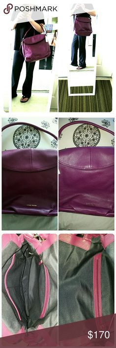 """2xHP Cole Haan Magnolia Hobo in Violet ***this brilliant violet color is no longer available on the Cole Haan website*** Supple pebbled leather with polished gold tone O-rings. Featuring a top flap closure, interior zip and side pockets with an adjustable/removable strap and an exterior zip.  13"""" L X 12"""" H X 6"""" D, drop handle 7"""", strap 19"""". Thank you @cpfendler for selecting this as a HP for the """"Style Obsessions"""" party on 9/5/16 And thank you @glsonn for selecting this beauty as a HP for…"""