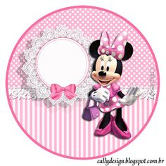 Minnie with Pink Stripes: Free Printable Candy Bar Labels. Minnie Mouse 1st Birthday, Girl Birthday Themes, Kids Party Themes, Mickey Mouse Clubhouse, Minnie Mouse Images, Minnie Mouse Pink, Mickey Minnie Mouse, Theme Mickey, Mickey Party