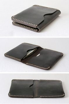 One Fold Black Leather Card Holder and Wallet