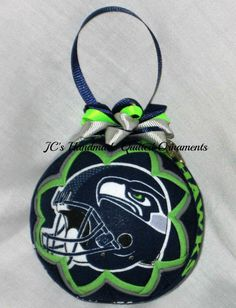 SEATTLE SEAHAWKS Ornament Made From Seahawks Cotton Fabric, Handmade Ornament, Seahawks, Sports Ornaments, Dated Ornament, Football Ornament by JCQuiltedOrnaments on Etsy
