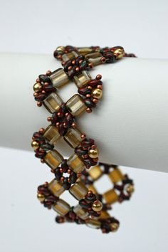 Beadwoven suare bracelet  Beadwork gold by craftybeadcollection