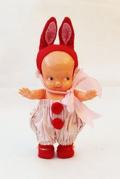 Vintage Irwin Bunny Kewpie Doll. Dressed in handmade original clothing, a cute collectible.