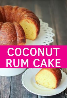 This easy cake starts with a yellow cake mix and gets dressed up with a buttery coconut rum sauce! Sweet Recipes, Cake Recipes, Dessert Recipes, Yummy Recipes, Breakfast Recipes, Just Desserts, Delicious Desserts, Rum Cake, Coconut Rum