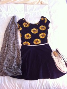 sunflower crop top, black crop top + grey knit cardigan + black skater skirt + white converse, white shoes