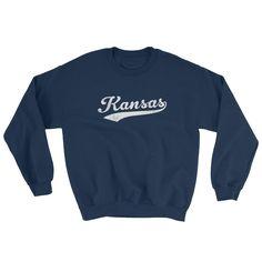 Vintage Kansas KS Sweatshirt with Script Tail Design Adult (Unisex) - JimShorts
