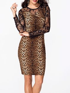 Round Neck Leopard Printed Lace Patchwork Bodycon Dress Only $25.95 USD More info...