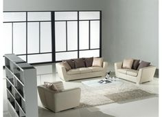 cream sofa modern   Serane - Cream Leather Sofa Set   Modern Sofas