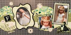 Scrapbook Page - F is for Flower Girl - 2 page wedding layout with a girl watering flowers - from Wedding Album 4