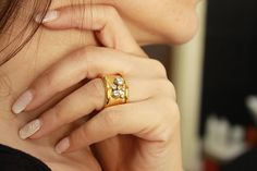Gold plated ring.Gold plated brass and silver ring.Handmade