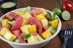 SOBE Fruit Salad – Cubed watermelon, pineapple, mango, cucumber, tomatoes and grapefruit supremes served with Key lime mint vinaigrette. – Miami Mex, Section 140