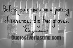 """Before you embark on a journey of revenge, dig two graves.""  ~ Confucius"