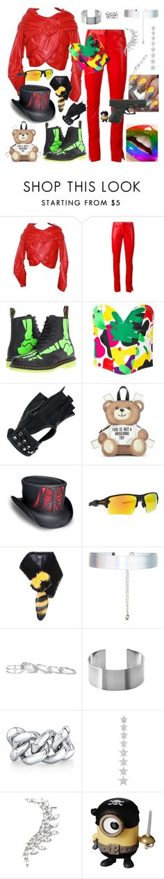 """""""PAINT IT BLACK ! redhead biker"""" by kuropirate ❤ liked on Polyvore featuring Emanuel Ungaro, Loewe, Dr. Martens, Thierry Mugler, Wilsons Leather, Moschino, Oakley, Fendi, Accessorize and Kendra Scott"""