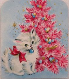 #1107 50s Sweet Kitty Cat by the Pink Tree-Vintage Christmas Greeting Card.