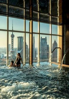 At Four Seasons Hotel Pudong, Shanghai's FLARE spa, a soak for two comes with an electrifying city view.