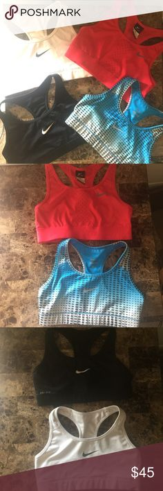 Nike Sports Bras lot of 4 size small 4 Nike sports bras all are size small and in great condition. Black, white, hot pink, blue. Nike Intimates & Sleepwear Bras
