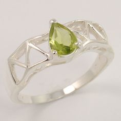 Natural PERIDOT Gemstone 925 Sterling Silver Jewelry Ring Size US 7.75 Wholesale #Unbranded