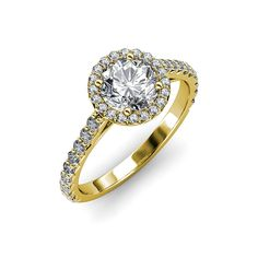 Diamond Halo Engagement Ring 1.12 ct tw in 14K Yellow Gold >>> Tried it! Love it! Click the image. : Engagement Rings